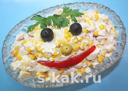 """Вкусный салат """"Копченая курица с ананасами"""""""
