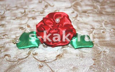 Как сделать розу и листик из ленты
