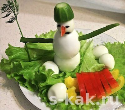 Украшения новогоднего стола. Снеговик из яиц