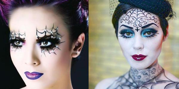 """Как сделать макияж глаз """"Паутинка ведьмы"""" со стразами"""