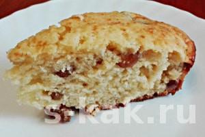 Рецепт: Вкусный творожный кекс с изюмом