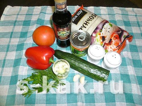 Cалат с фунчозой - ингредиенты