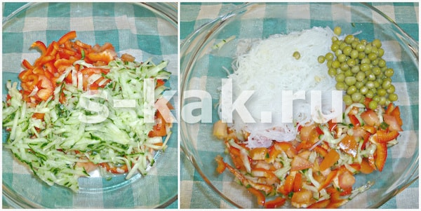Как приготовить салат с фунчозой и овощами